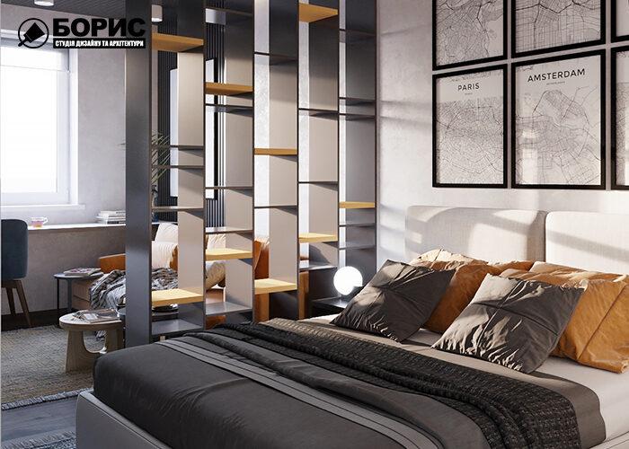 Дизайн однокімнатної квартири в Харкові, спальня