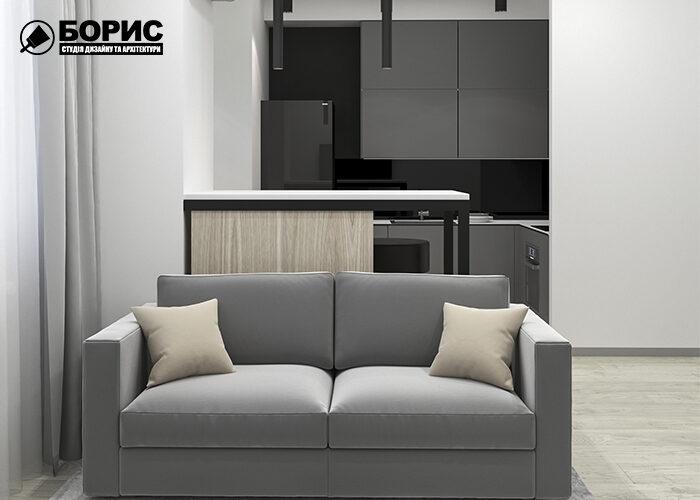 Дизайн інтер'єру квартири-студії в Харкові, вітальня-кухня