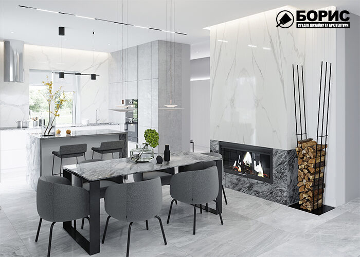 Дизайн інтер'єру котеджу в Харкові, вітальня