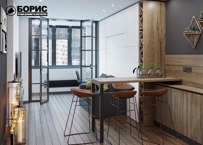 Дизайн інтер'єру квартири-студії в Харкові, кухня-вітальня