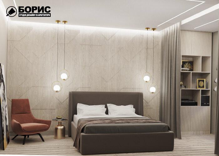 Дизайн трехкомнатной квартиры в Харькове, спальня