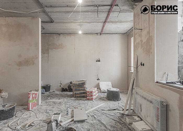 Ремонт однокімнатної квартири в Харкові, вітальня