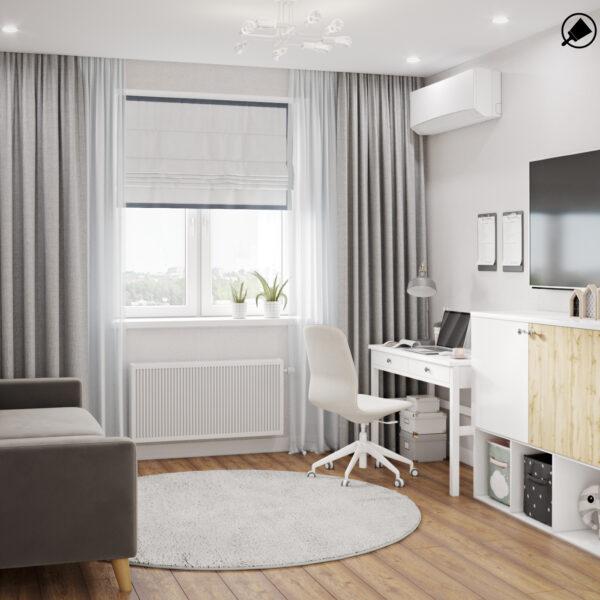"""Дизайн интерьера квартиры ЖК """"Мира"""", гостевая спальня вид сбоку"""
