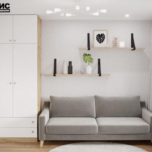 """Дизайн інтер'єру квартири ЖК """"Миру"""", гостьова спальня вид спереду"""
