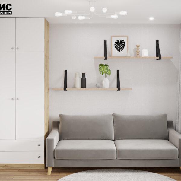 """Дизайн интерьера квартиры ЖК """"Мира"""", гостевая спальня вид спереди"""