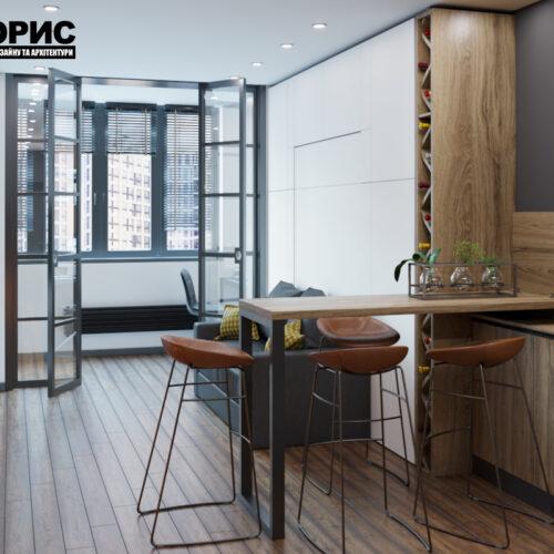 Дизайн інтер'єру квартири-студії, спальня-кухня вид спереду