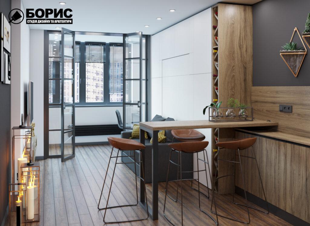 Дизайн интерьера квартиры-студии, спальня-кухня вид спереди