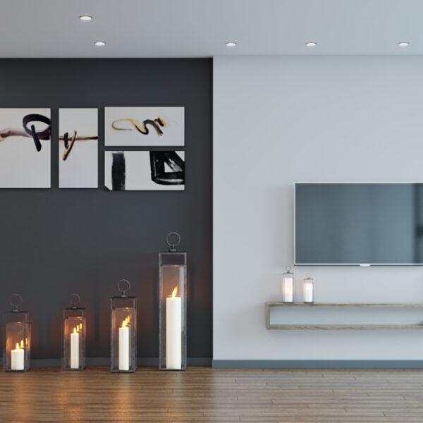 Дизайн интерьера квартиры-студии, спальня-кухня вид слева
