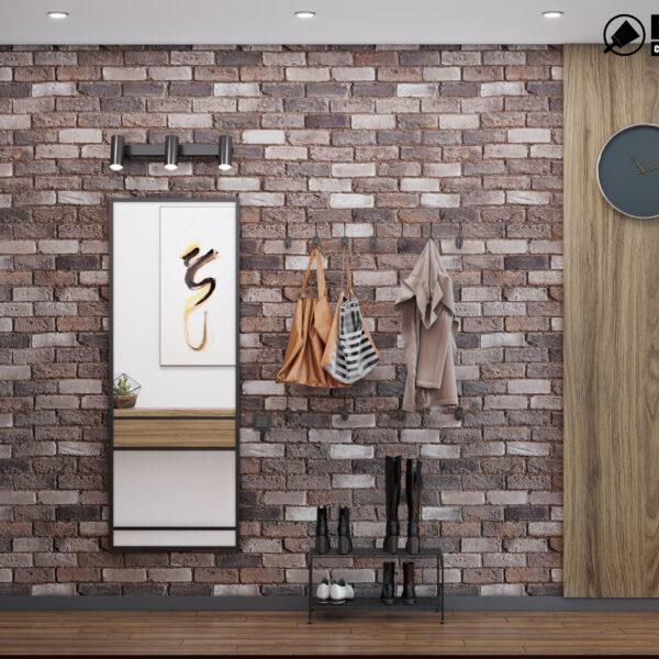 Дизайн интерьера квартиры-студии, прихожая вид слева