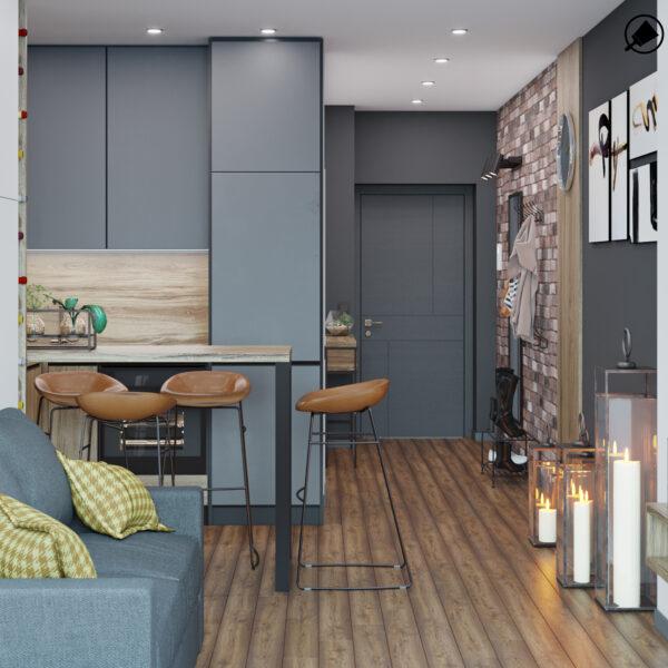 Дизайн интерьера квартиры-студии, спальня-кухня вид сзади