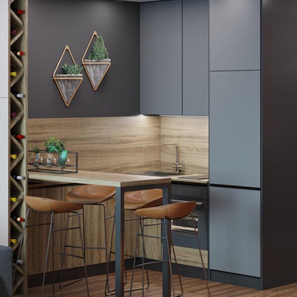 Дизайн интерьера квартиры-студии, кухня