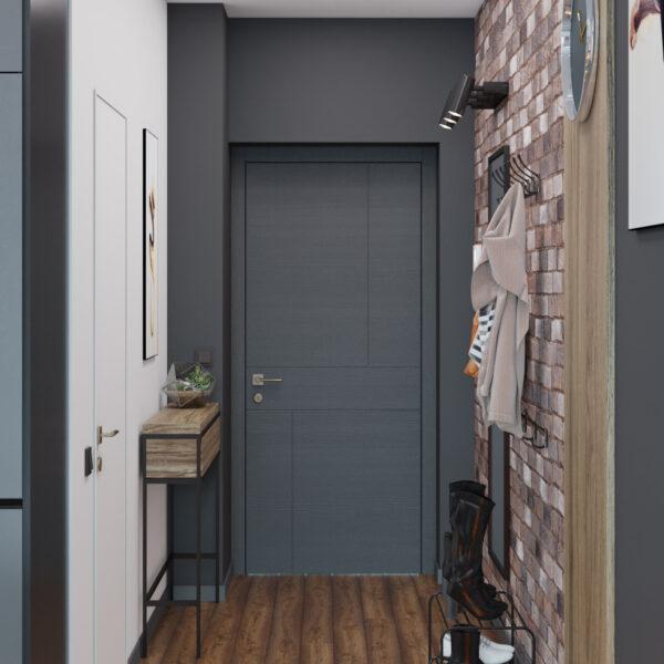Дизайн интерьера квартиры-студии, прихожая вид сзади