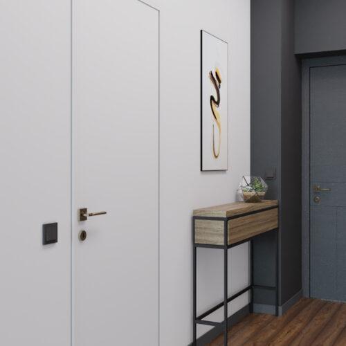 Дизайн інтер'єру квартири-студії, передпокій вид справа