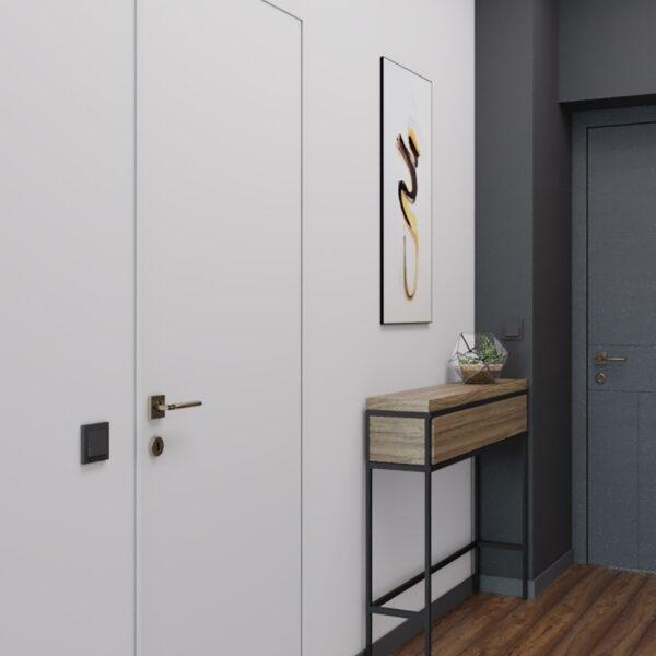 Дизайн интерьера квартиры-студии, прихожая вид справа