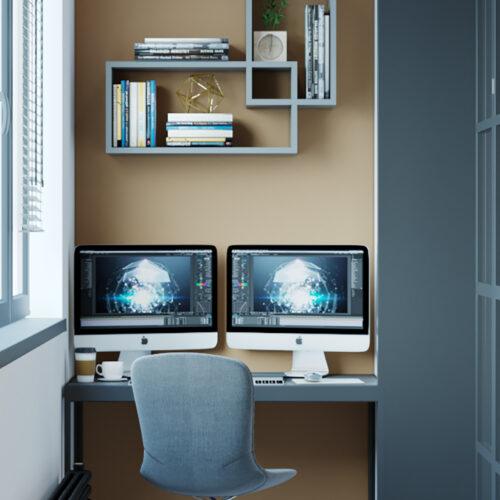 Дизайн інтер'єру квартири-студії, балкон вид справа