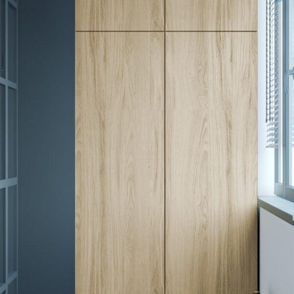 Дизайн интерьера квартиры-студии, балкон вид слева