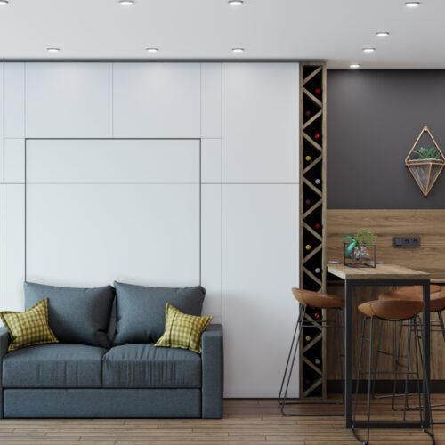 Дизайн інтер'єру квартири-студії, спальня-кухня вид справа