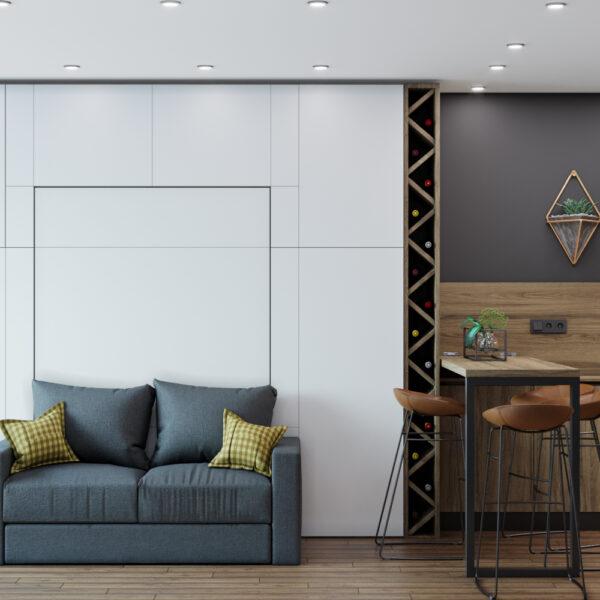 Дизайн интерьера квартиры-студии, спальня-кухня вид справа