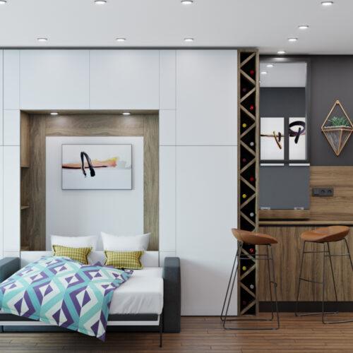 Дизайн інтер'єру квартири-студії, спальня