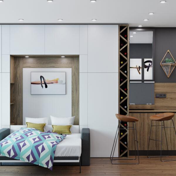 Дизайн интерьера квартиры-студии, спальня