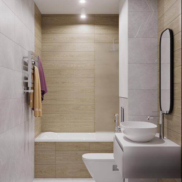 """Дизайн интерьера квартиры ЖК """"Мира"""", ванная комната вид сбоку"""