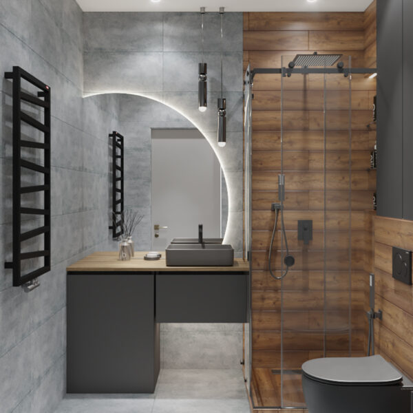 Дизайн интерьера квартиры-студии, санузел вид спереди
