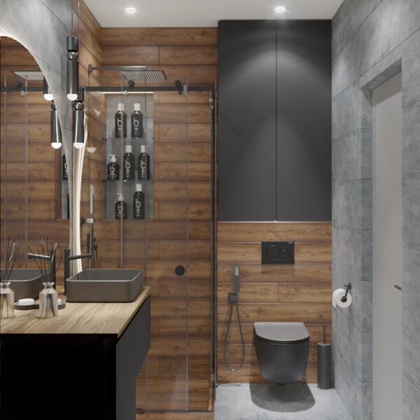 Дизайн интерьера квартиры-студии, санузел вид справа
