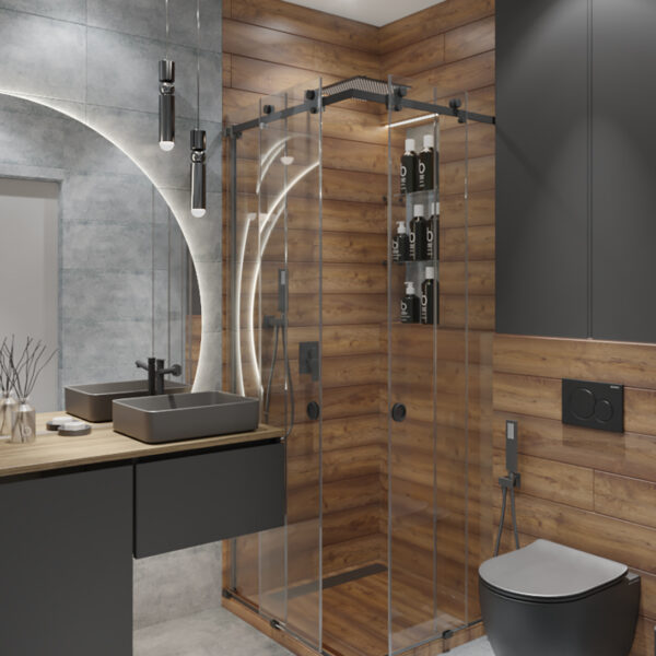 Дизайн интерьера квартиры-студии, санузел вид сбоку