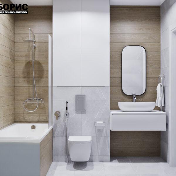 """Дизайн интерьера квартиры ЖК """"Мира"""", ванная комната вид спереди"""