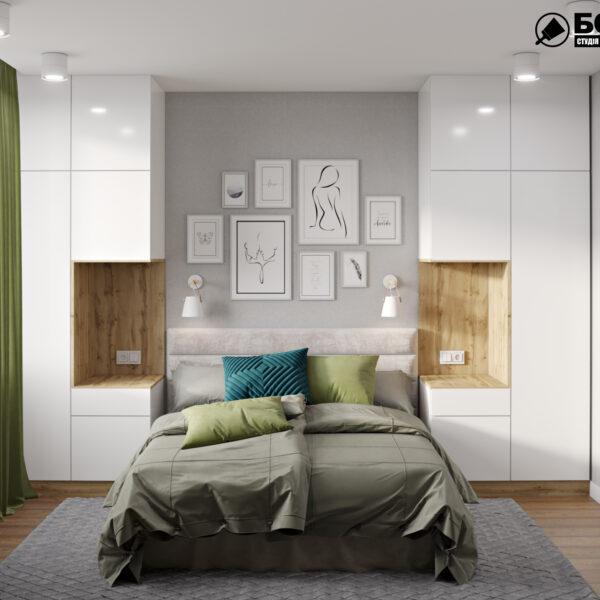 """Дизайн интерьера квартиры ЖК """"Мира"""", спальня вид спереди"""