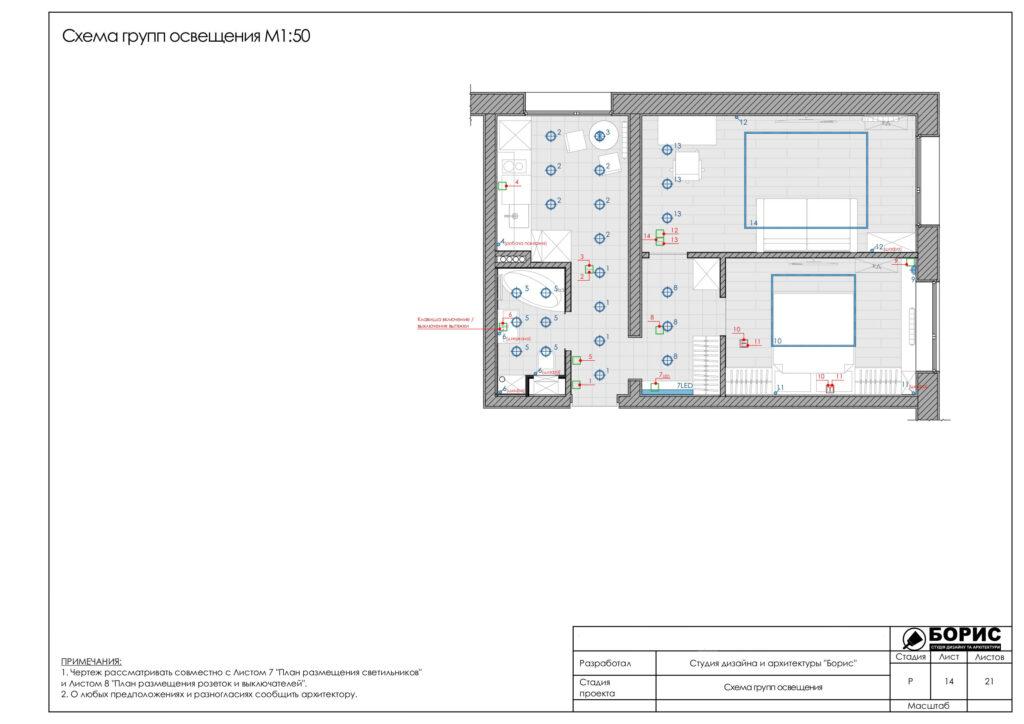 Состав дизайн-проекта интерьера в Харькове, схема груп освещения
