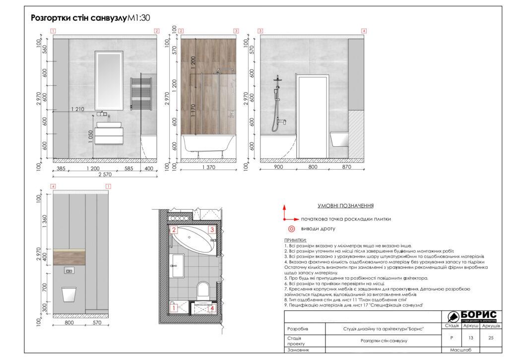 Склад дизайн-проекту інтер'єру в Харкові, розгортка стін санвузла