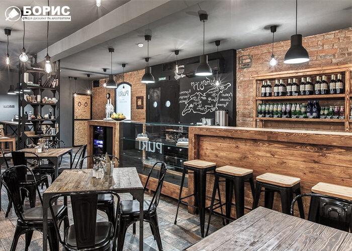 Фінальний варіант компактного бару в стилі лофт в Харкові.