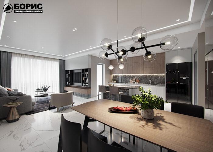 Квартира-студія з великими вікнами та сучасним дизайном.