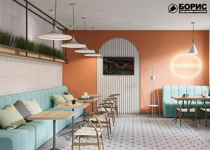 Большой зал кафе после ремонта в Харькове.