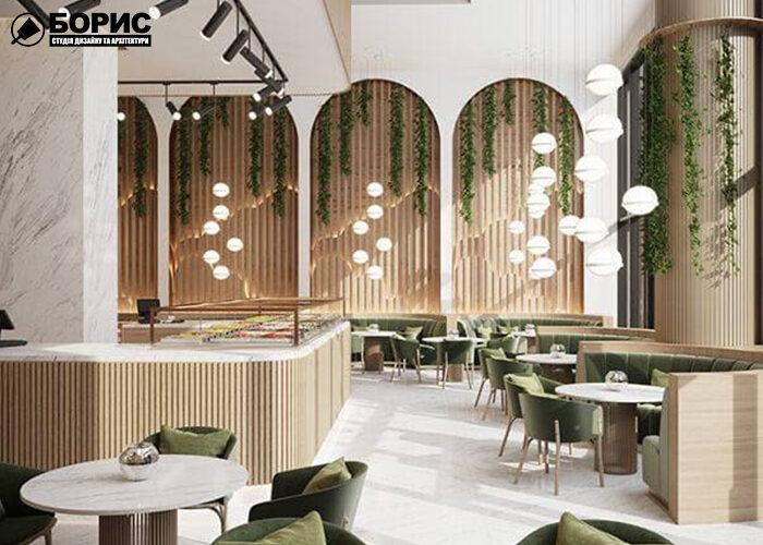 Современный дизайн кафе в нежных тонах.