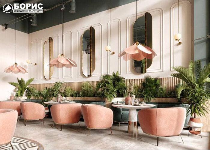 Дизайн кафе з сучасним дизайном у ныжних кольорах.