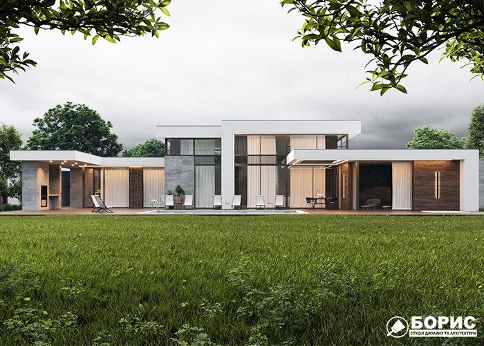 Современный коттедж с плоской крышей.