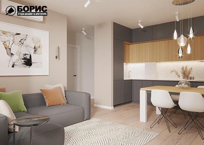 Дизайн квартири в Харкові, вітальня кухня