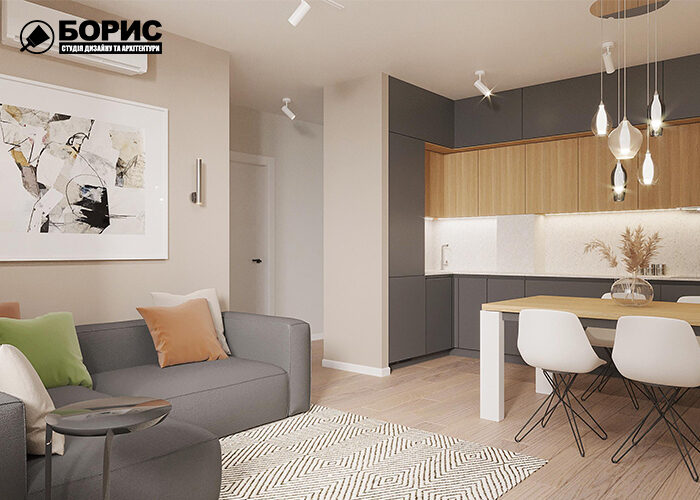 Дизайн квартиры в Харькове, гостиная кухня