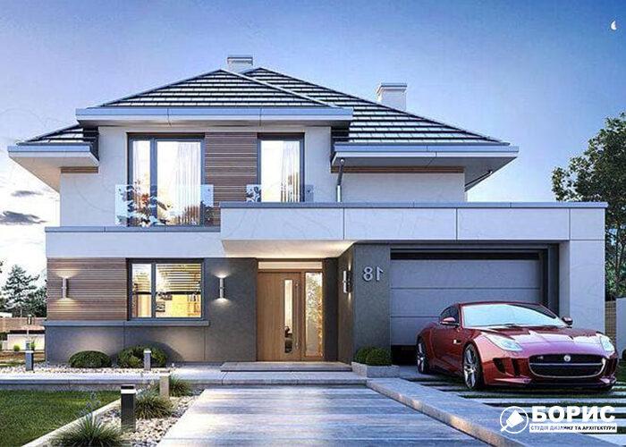 Двухэтажный дом с гаражом на одну машину.