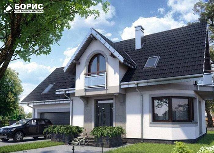 проект большого дома с покатой крышей и гаражом на одну машину.