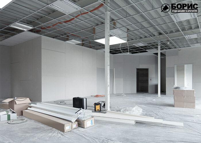Процес ремонту сучасного офісного приміщення в Харкові.
