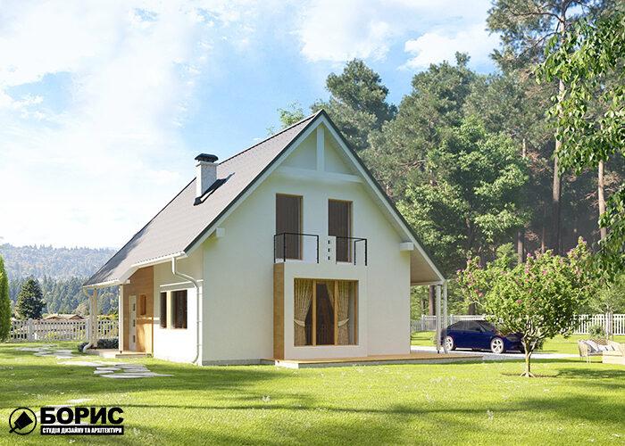 Проект двуєтажного дома с покатой крышей и балконом.