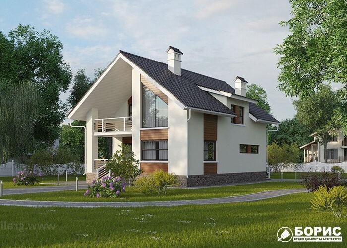 Великий будинок з терасою та покатим дахом.