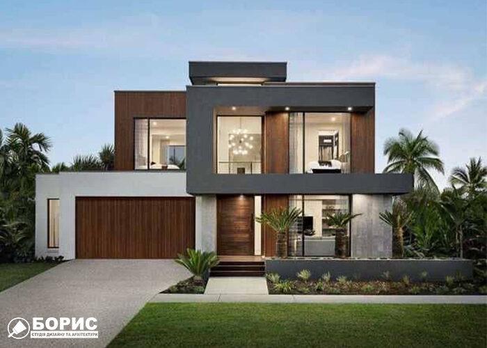 Проект великого будинку з гаражем та великими вікнами.