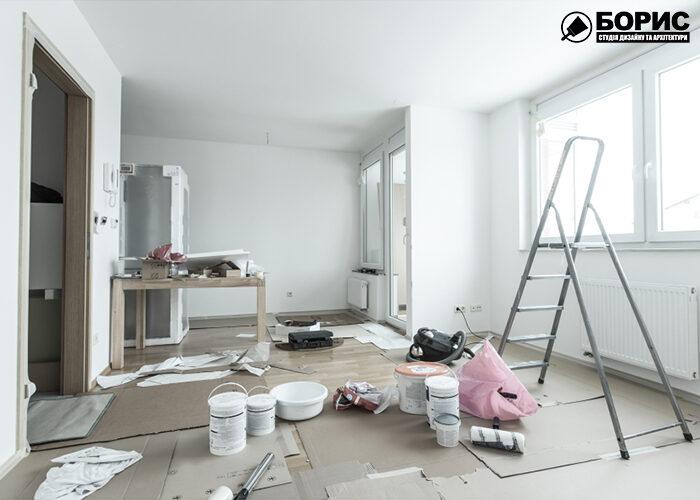Процесс ремонта гостиной дома в Харькове.