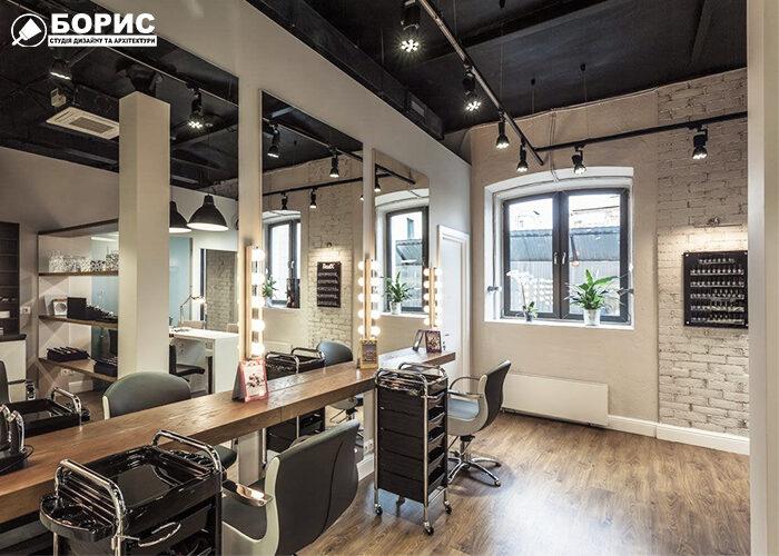 Ремонт салону краси в сучасному стилі з великими дзеркалами.