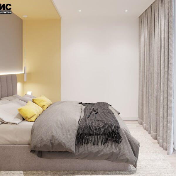 "Дизайн-проект интерьера квартиры ЖК ""Левада"", спальня вид сбоку"