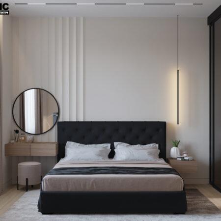 Дизайн-проект квартиры по ул. Семинарской, спальня вид по центру на кровать